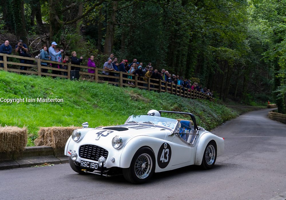 Boness Revival hillclimb motorsport event in Boness, Scotland, UK. The 2019 Bo'ness Revival Classic and Hillclimb, Scotland's first purpose-built motorsport venue, it marked 60 years since double Formula 1 World Champion Jim Clark competed here.  It took place Saturday 31 August and Sunday 1 September 2019. 43. Richard Witt. Triumph TR3A