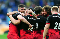 Saracens players celebrate at the final whistle - Mandatory byline: Patrick Khachfe/JMP - 07966 386802 - 14/05/2016 - RUGBY UNION - Grand Stade de Lyon - Lyon, France - Saracens v Racing 92 - European Rugby Champions Cup Final.