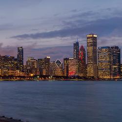 Chicago, Illinois skyline view from near Adler Planitarium/Museum Park.