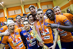 Players of ACH celebrate with a trophy after winning during volleyball match between ACH Volley   and Salonit Anhovo in Final of Slovenian Cup 2014/15, on January 17, 2015 in Sempeter, Slovenia. Photo by Vid Ponikvar / Sportida