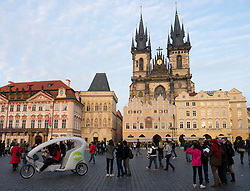 Old Town Square and Tyn Church in Prague in Czech Republic