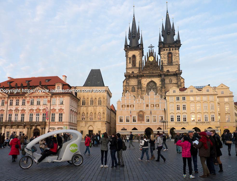 Old Town Square and Tyn Church in Prague in Czech Republic