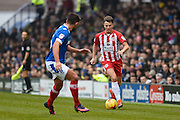 Accrington Stanley Midfielder, Sean McConville (11) takes on Portsmouth Midfielder, Gareth Evans (26) during the EFL Sky Bet League 2 match between Portsmouth and Accrington Stanley at Fratton Park, Portsmouth, England on 11 February 2017. Photo by Adam Rivers.