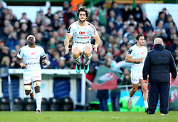 Maxime Machenaud (c) of Racing 92 jumps in the air - Mandatory by-line: Robbie Stephenson/JMP - 23/10/2016 - RUGBY - Welford Road Stadium - Leicester, England - Leicester Tigers v Racing 92 - European Champions Cup
