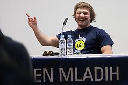 Filip Flisar, winner of crystal globe in ski cross in talk show at Teden Mladih, on May 15, 2012, in Kranj, Slovenia. (Photo by Grega Valancic / Sportida.com)