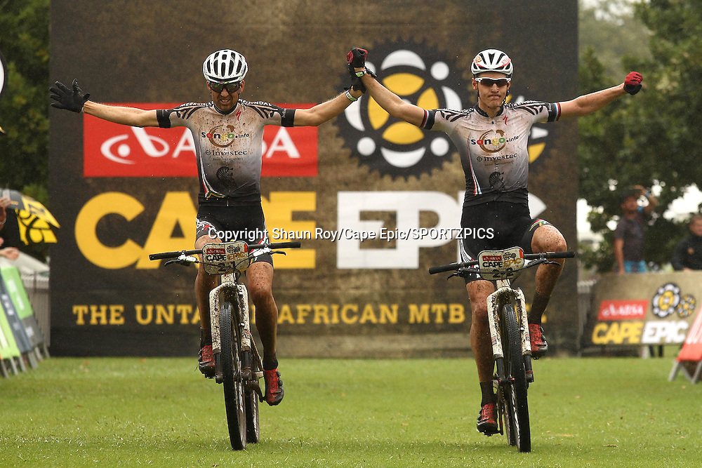 Christoph Sauser and Jaroslav Kulhavy of Investec-Songo-Specialized celebrate winning stage 1 during stage 1 of the 2015 Absa Cape Epic Mountain Bike stage race held from Oak Valley Wine Estate in Elgin, South Africa on the 16 March 2015<br /> <br /> Photo by Shaun Roy/Cape Epic/SPORTZPICS<br /> <br /> PLEASE ENSURE THE APPROPRIATE CREDIT IS GIVEN TO THE PHOTOGRAPHER AND SPORTZPICS ALONG WITH THE ABSA CAPE EPIC