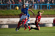 Cowdebeath captain Scott Rumsby is powerles as Dundee&rsquo;s Darren O&rsquo;Dea directs a header towards goal - Cowdenbeath v Dundee in the Betfred Cup at Central Park, Cowdenbeath - Picture by David Young<br /> <br />  - &copy; David Young - www.davidyoungphoto.co.uk - email: davidyoungphoto@gmail.com