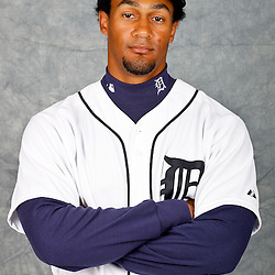 February 28, 2012; Lakeland, FL, USA; Detroit Tigers second baseman Eric Patterson (74) poses for photo day in the rec room at the Detroit Tigers Headquarters.  Mandatory Credit: Derick E. Hingle-US PRESSWIRE
