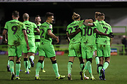 Forest Green Rovers Reece Brown(10) scores a goal 3-0 and celebrates during the EFL Sky Bet League 2 match between Forest Green Rovers and Grimsby Town FC at the New Lawn, Forest Green, United Kingdom on 22 January 2019.