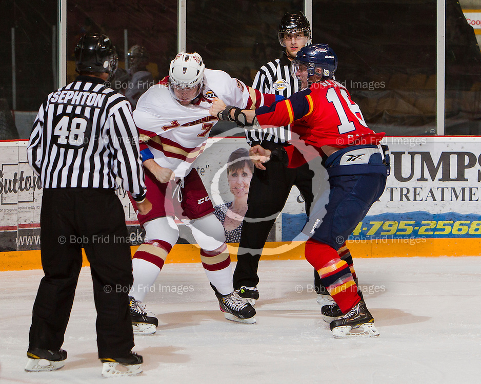 13 October 2012: Cooper Rush (7) of the Chiefs fights with Kevin Guiltinan (18) of the Vipers   during a game between the Chilliwack Chiefs and the Vernon Vipers at  Prospera Centre, Chilliwack, BC.    Final Score: Chilliwack 4  Vernon 1   ****(Photo by Bob Frid - All Rights Reserved 2012): mobile: 778-834-2455 : email: bob.frid@shaw.ca ****