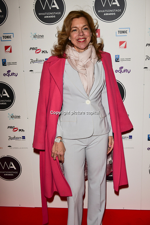 Janie Dee Arriver at the 18th Annual WhatsOnStage Awards 2018 at Prince of Wales Theatre on 25 Feb 2018, London, UK