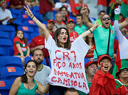 LYON, FRANCE - Wednesday, July 6, 2016: A Portugal supporter with a message for captain Cristiano Ronaldo before the UEFA Euro 2016 Championship Semi-Final match against Wales at the Stade de Lyon. (Pic by David Rawcliffe/Propaganda)