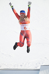 February 15, 2018 - Pyeongchang, South Korea - RAGNHILD MOWINCKEL of Norway celebrates on the awards stand after winning silver in the Womens Giant Slalom event Thursday, February 15, 2018 at the Yongpyang Alpine Center at the Pyeongchang Winter Olympic Games.  Photo by Mark Reis, ZUMA Press/The Gazette (Credit Image: © Mark Reis via ZUMA Wire)