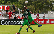 Slovenia midfielder Kristjan Trdiin (10) heads the ball in a game against Canada during a CONCACAF boys under-15 championship soccer game, Saturday, August 10, 2019, in Bradenton, Fla. Slovenia defeated Canada in 2-1 in overtime and advanced to the finals against Portugal. (Kim Hukari/Image of Sport)