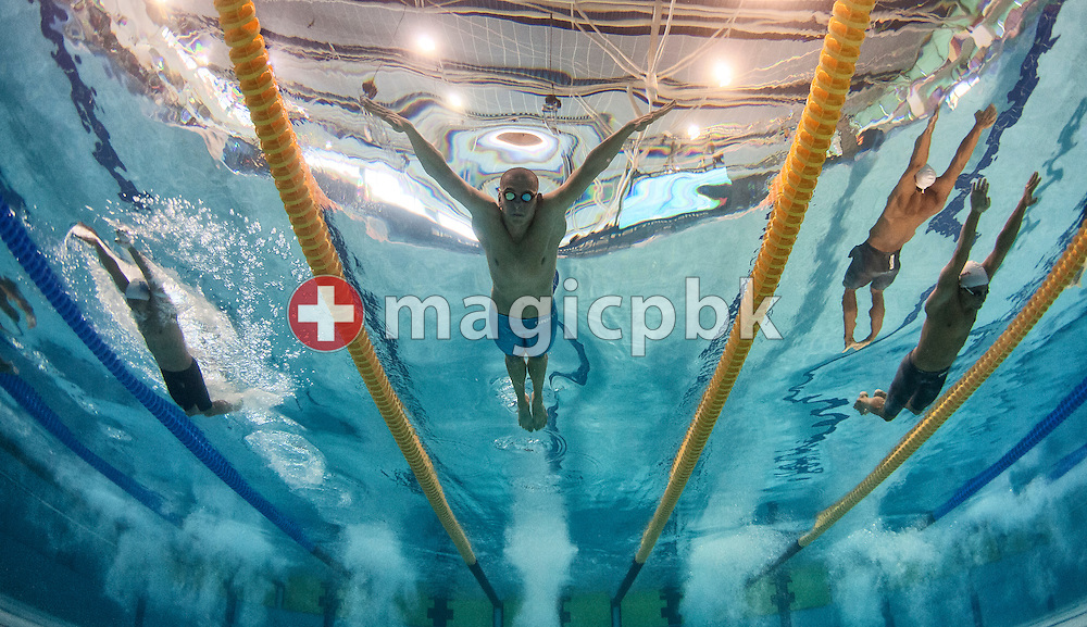 Laszlo Cseh (C) of Hungary and Ioannis Drymonakos (R) of Greece compete in the men's 200m Butterfly Heats during the 31st LEN European Swimming Championships in Debrecen, Hungary, Wednesday, May 23, 2012. (Photo by Patrick B. Kraemer / MAGICPBK)