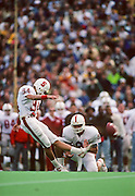 John Hopkins kicks one of five field goals during the 93rd Big Game between Cal and Stanford played on November 17, 1990 at Memorial Stadium in Berkeley, California.  Stanford won 27-25 on a last second field goal by John Hopkins.