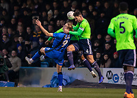 Football - 2018 / 2019 FA Cup - Third Round: Gillingham vs. Cardiff City<br /> <br /> Tom Eaves (Gillingham FC) under pressure and squeezed by the Cardiff City defence at Priestfield Stadium.<br /> <br /> COLORSPORT/DANIEL BEARHAM