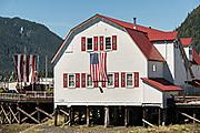 The Sons of Norway Fedrelandet Lodge on Hammer Slough in Petersburg, Mitkof Island, Alaska. Petersburg settled by Norwegian immigrant Peter Buschmann is known as Little Norway due to the high percentage of people of Scandinavian origin.