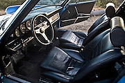 Image of black sport seat interior in Los Angeles, Calfornia, America west, 1973 early Porsche 911S, property released