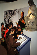 Year 6 pupils looking at an exhibit at the Thackray Medical Museum in Leeds....