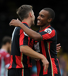 Bournemouth's Dan Gosling celebrates his goal with Bournemouth's Junior Stanislas. - Photo mandatory by-line: Harry Trump/JMP - Mobile: 07966 386802 - 18/07/15 - SPORT - FOOTBALL - Pre Season Fixture - Exeter City v Bournemouth - St James Park, Exeter, England.