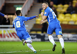 Conor Washington of Peterborough United (right) celebrates scoring the opening goal - Mandatory byline: Joe Dent/JMP - 07966 386802 - 26/12/2015 - FOOTBALL - ABAX Stadium - Peterborough, England - Peterborough United v Chesterfield - Sky Bet League One