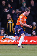 Andy Drury of Luton Town celebrates scoring the opening goal against Cambridge United during the Sky Bet League 2 match at Kenilworth Road, Luton<br /> Picture by David Horn/Focus Images Ltd +44 7545 970036<br /> 31/01/2015