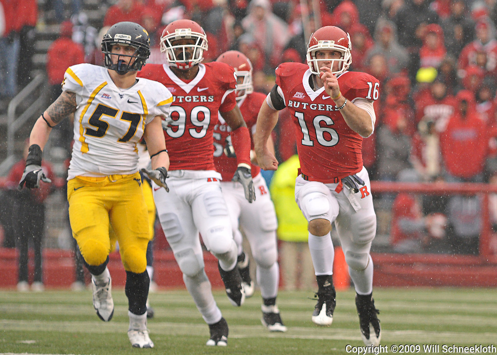 Dec 5, 2009; Piscataway, NJ, USA; Rutgers long snaper Andrew Depaola (16) runs on a punt  during first half NCAA Big East college football action between Rutgers and West Virginia at Rutgers Stadium.