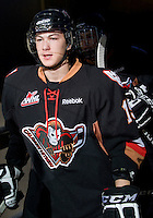 KELOWNA, CANADA, JANUARY 1: Calder Brooks #19 of the Calgary HItmen enters the ice as the Calgary Hitmen visit the Kelowna Rockets on January 1, 2012 at Prospera Place in Kelowna, British Columbia, Canada (Photo by Marissa Baecker/Getty Images) *** Local Caption ***