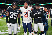 Curtis Riley (S) of the Oakland Raiders, Ha Ha Clinton-Dix (DB) of the Chicago Bears and Karl Joseph (S) of the Oakland Raiders during the International Series match between Oakland Raiders and Chicago Bears at Tottenham Hotspur Stadium, London, United Kingdom on 6 October 2019.