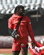 Sep 15, 2019; Oakland, CA, USA; Kansas City Chiefs receiver Tyreek Hill wears a sling because of a sternoclavicular joint injury in his shoulder during the game against the Oakland Raiderst Oakland-Alameda County Coliseum. The Chiefs defeated the Raiders 28-10..(Gerome Wright/Image of Sport)