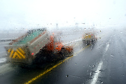 Snowplows ride in severe weather conditions, including sleet that snarls traffic and cause accidents on the Interstate 95 highway between Trenton, NJ  and Newark, NJ, on March 2, 2019.