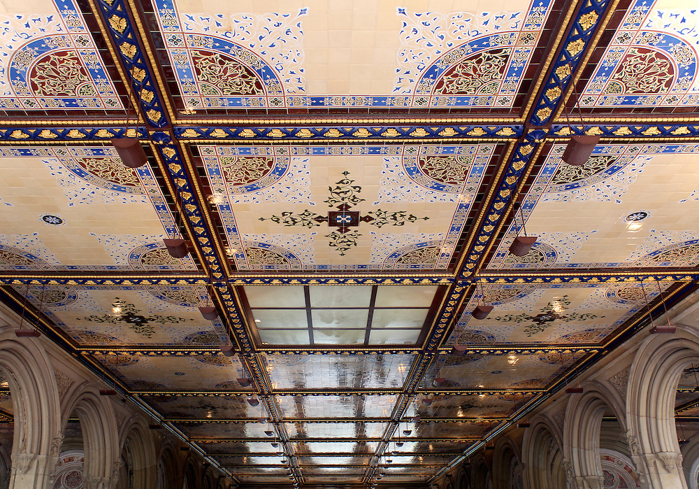 New York City central park Bethesda Terrace underpass arcade detail. Created in the 1860s as a part of the Park's main architectural feature
