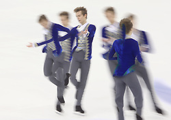 A multiple exposure picture of Micha Brezina of Czech Republic performing during the Men free skating program at the ISU World Figure Skating Championships at Shanghai Oriental Sports Center in Shanghai, China, 28 March 2015.