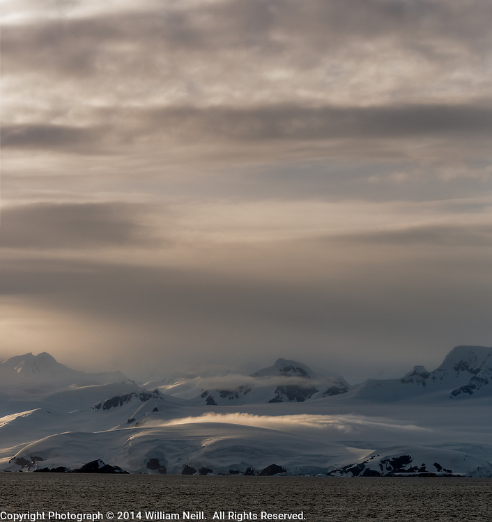 Morning clouds and glaciers, Gerlache Strait, Antarctica  2014
