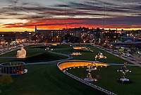 Sunset over the Papa John Sculpture Park in Des Moines, Iowa.