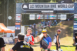 Manon Carpenter and Jill Kintner soaking up the moment after having finished 1st and 3rd in Pietermaritzburg during the first round of the UCI Mountainbike World Cup.