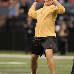 16 January 2010: New Orleans Saints quarterback Drew Brees during warm ups prior to kickoff of a 45-14 win by the New Orleans Saints over the Arizona Cardinals in a 2010 NFC Divisional Playoff game at the Louisiana Superdome in New Orleans, Louisiana.