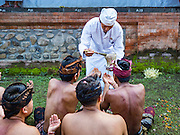 22 JULY 2016 - TENGANAN DUAH TUKAD, BALI, INDONESIA: A Hindu priest sprinkles people with holy water during the prayers after the pandanus fights in the Tenganan Duah Tukad village on Bali. The ritual Pandanus fights are dedicated to Hindu Lord Indra. Men engage in ritual combat with spiky pandanus leaves and rattan shields. They usually end up leaving bloody scratches on the combatants' backs. The young girls from the community wear their best outfits to watch the fights. The fights have been traced to traditional Balinese beliefs from the 14th century CE. The fights are annual events in the Balinese year, which is 210 days long, or about every seven months in the Gregorian calendar.    PHOTO BY JACK KURTZ