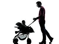 man father parents with baby carriage in silhouettes on white background