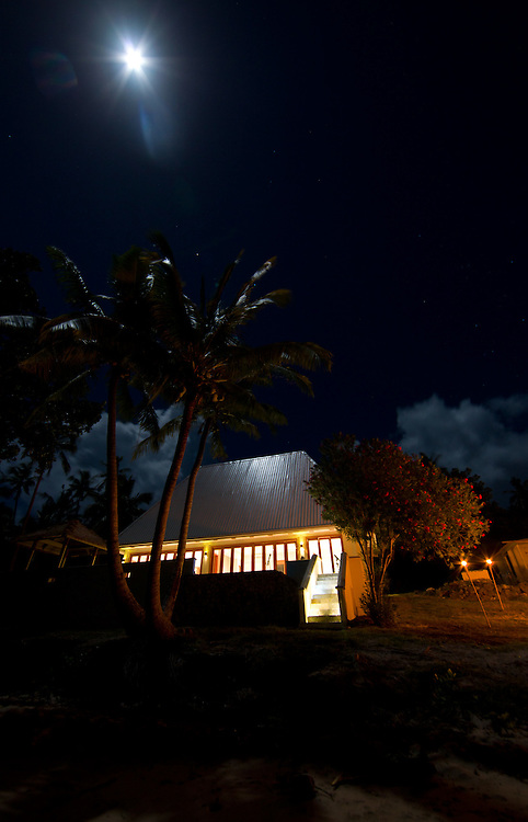 Private Hotel Beach Residence on Moonlit Night, Fiji