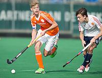 ROTTERDAM -   Justin Blok (Neth)  with Elliot Killington (Eng)  Practice Match  Hockey : Netherlands Boys U16  v England U16 . COPYRIGHT KOEN SUYK