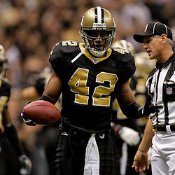 2009 November 02: New Orleans Saints safety Darren Sharper (42) celebrates after intercepting a pass in the fourth quarter against the Atlanta Falcons during a 35-27 win by the Saints over the Falcons at the Louisiana Superdome in New Orleans, Louisiana.