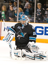 April 8, 2010; San Jose, CA, USA; San Jose Sharks goalie Evgeni Nabokov (20) before the game against the Vancouver Canucks at HP Pavilion.  San Jose defeated Vancouver 4-2. Mandatory Credit: Jason O. Watson / US PRESSWIRE