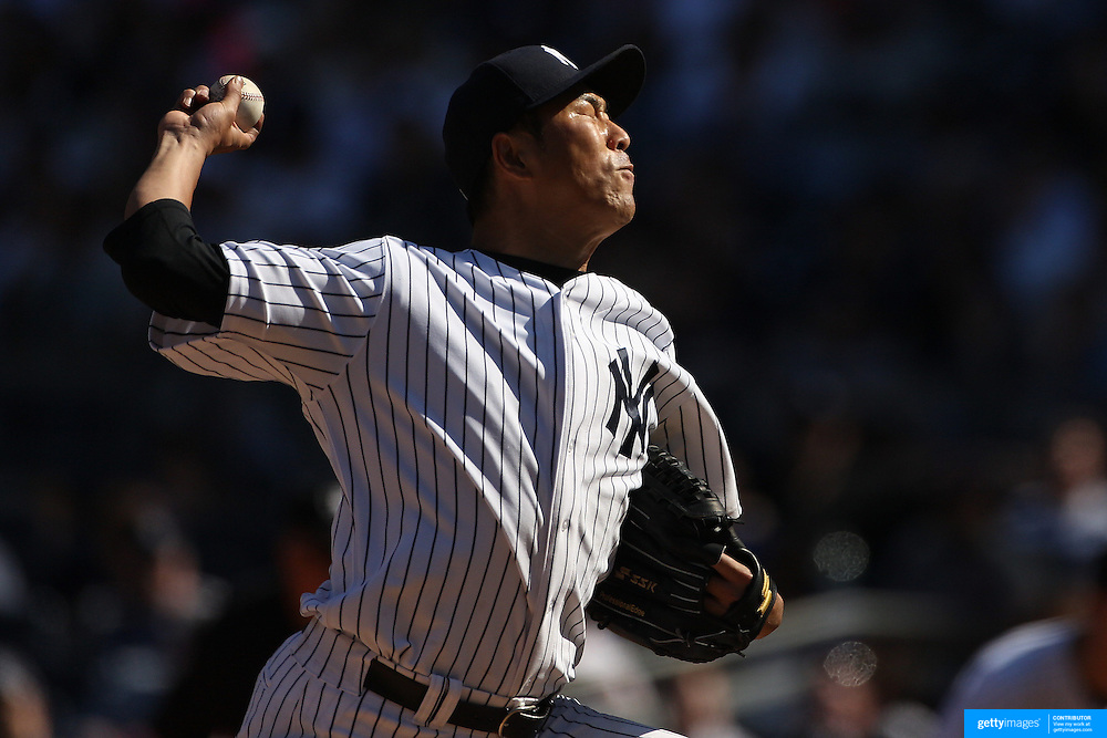 Hiroki Kuroda, New York Yankees, pitching during the New York Yankees V Boston Red Sox baseball game at Yankee Stadium, The Bronx, New York. 12th April 2014. Photo Tim Clayton