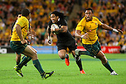 Ma'a Nonu in action during the Tri Nations and Bledisloe Cup Rugby Union Test Match. Australian Wallabies v New Zealand, Suncorp Stadium, Brisbane, Australia on Saturday 27 August 2011.  Photo: Patrick Hamilton/Photosport