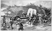 British forces taking the 4.7 naval gun across the Tugela River. 18 January 1900. 2nd Boer War 1899-1902