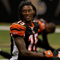 2009 August 14: Cincinnati Bengals wide receiver Chris Henry (15) stretches prior to the start of a preseason opener between the Cincinnati Bengals and the New Orleans Saints at the Louisiana Superdome in New Orleans, Louisiana.
