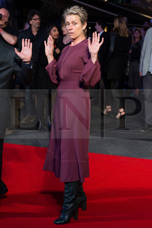 © Licensed to London News Pictures. 15/10/2017. London, UK. FRANCES MCDORMAND attends the Three Billboards Outside Ebbing Missouri Film UK Premiere showing as part of the 51st BFI London Film Festival. Photo credit: Ray Tang/LNP