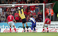Photo:  Frances Leader.<br /> Swindon Town FC v Peterborough Utd.  Coca-Cola football league one.<br /> The County Ground.<br /> 11/09/2004<br /> Peterborough's Steve Jenkins misses his kick for his second goal against Swindon.